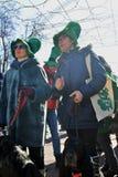 Célébration de jour du ` s de St Patrick à Moscou Les gens dans des costumes de vacances Photos libres de droits