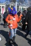 Célébration de jour du ` s de St Patrick à Moscou Personne dans le costume de vacances Image libre de droits