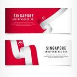 Célébration de Jour de la Déclaration d'Indépendance de Singapour, illustration de calibre de vecteur de scénographie de bannière illustration de vecteur