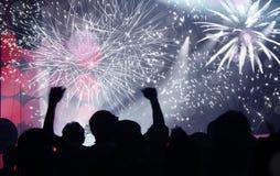 Célébration de la nouvelle année avec le champagne et les feux d'artifice Image libre de droits