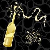 Célébration de la nouvelle année, bouteille pétillante 2018 Images stock