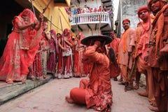 Célébration de Lathmar Holi chez Nandgaon Images libres de droits
