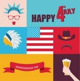 Célébration de le 4ème juillet caractères de hippie Images libres de droits