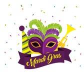 Célébration de mardi gras avec le masque et la trompette illustration libre de droits