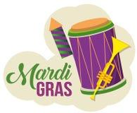 Célébration de mardi gras avec le tambour et la trompette illustration stock