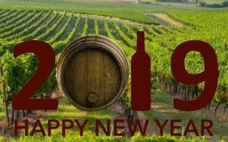 Célébration de nouvelle année avec du vin 2019 sur le fond de paysage image libre de droits