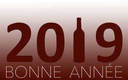 Célébration de nouvelle année avec du vin 2019 sur le fond rouge illustration de vecteur