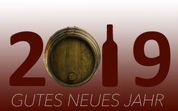 Célébration de nouvelle année avec du vin 2019 sur le fond rouge image stock