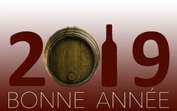 Célébration de nouvelle année avec du vin 2019 sur le fond rouge images stock