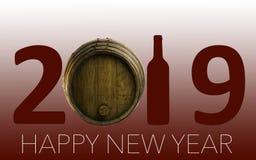 Célébration de nouvelle année avec du vin 2019 sur le fond rouge photographie stock
