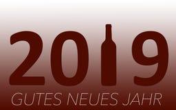 Célébration de nouvelle année avec du vin 2019 sur le fond rouge illustration stock
