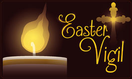 Célébration de Paschal Candle Illuminating Easter Vigil, illustration de vecteur illustration libre de droits