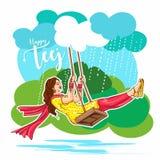 Célébration de Teej dans l'illustration de oscillation de vecteur de belle femme indienne de l'Inde illustration stock