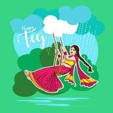 Célébration de Teej dans la belle illustration indienne de swingingvector de femme de l'Inde illustration libre de droits