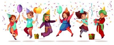 Célébration de vecteur d'anniversaire de nationalités d'enfants illustration libre de droits
