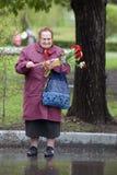 Célébration de Victory Day à Moscou Portrait supérieur de femme Photo stock