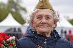 Célébration de Victory Day à Moscou Portrait supérieur de femme Images libres de droits