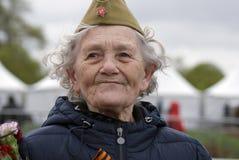 Célébration de Victory Day à Moscou Portrait supérieur de femme Image libre de droits