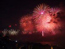 Célébration des feux d'artifice turcs de jour de République Images stock