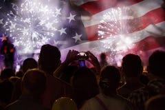 Célébration du Jour de la Déclaration d'Indépendance aux USA Photographie stock