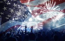 Célébration du Jour de la Déclaration d'Indépendance aux USA Image stock