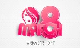 Célébration du jour des femmes heureuses avec le texte de papier rose Image libre de droits