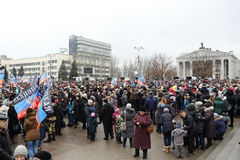 Célébration du jour international de la solidarité à Donetsk dessus Image stock