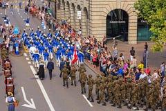 Célébration du jour national suisse à Zurich, Suisse Photographie stock libre de droits