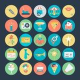 Célébration et icônes 3 de vecteur colorées par partie Image stock