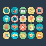Célébration et icônes 4 de vecteur colorées par partie Images stock