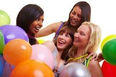 Célébration femelle d'amis neuve images stock