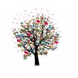 Célébration heureuse, arbre drôle avec des symboles de vacances Photo libre de droits