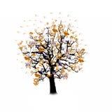 Célébration heureuse, arbre drôle avec des symboles de vacances Image stock