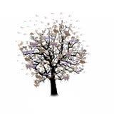 Célébration heureuse, arbre drôle avec des symboles de vacances Photos stock