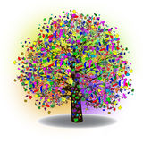 Célébration heureuse, arbre drôle avec des symboles de vacances illustration libre de droits