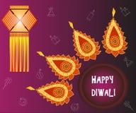 Célébration heureuse de Diwali Drapeau créateur illustration libre de droits
