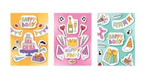 Célébration heureuse de gâteau ou de petit gâteau de naissance d'enfants de bande dessinée d'anniversaire de vecteur de modèle de illustration libre de droits