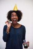 Célébration heureuse de jeune femme Photo libre de droits