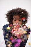 Célébration heureuse de jeune femme Image libre de droits