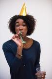 Célébration heureuse de jeune femme Photographie stock
