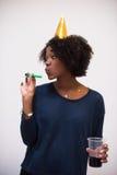 Célébration heureuse de jeune femme Image stock
