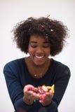 Célébration heureuse de jeune femme Photos libres de droits