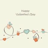 Célébration heureuse de Saint-Valentin avec des cadeaux et des coeurs Photos stock