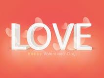 Célébration heureuse de Saint-Valentin avec le texte 3D Photo stock