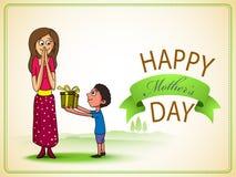 Célébration heureuse du jour de mère avec la maman et son enfant Photo libre de droits
