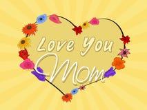 Célébration heureuse du jour de mère avec le beau coeur Image stock