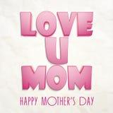 Célébration heureuse du jour de mère avec le texte rose brillant Photos libres de droits