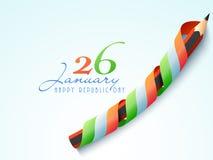 Célébration indienne heureuse de jour de République avec le crayon illustration libre de droits