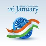 Célébration indienne heureuse de jour de République roue de 3D Ashoka couverte par le ruban tricolore national pour le 26 janvier illustration stock