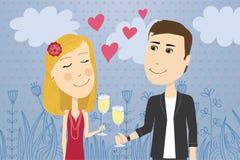 Célébration mignonne d'amoureux Photo stock